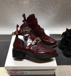 Wholesale Cutout Fashion - wine red spring summer Fashion Womens shiny Genuine patent Leather gold metal buckle cutouts biker Martin Ankle Boots autumn martin boots