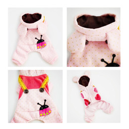 Wholesale free patterns dog clothes - Free Shipping Wholesale Spring Summer New Pet Dog Clothes Hooded Jacket Coat Teddy JumpsuitCute Pattern Tops