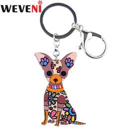 Chihuahua fascini online-WEVENI originale acrilico Chihuahua cane portachiavi a forma di chiave portachiavi fascino auto portachiavi accessori nuovi gioielli di moda per le donne
