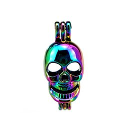 Wholesale halloween plastic skeleton - 10pcs lot Rainbow Color Skeleton Pearl Cage Beads Cage Locket Pendant Diffuser Aromatherapy Perfume Essential Oils Diffuser Floating Pom