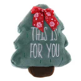 Wholesale Christmas Presents For Kids - 3D Christmas Tree Cushions Stuffed Plush Funny 'THIS IS FOR YOU'words Kids Toy Doll Present Decorative Pillows Holiday Gift