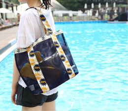 Wholesale Travel Clothing Pouches - Casual Storage Bags beach bag dense mesh handbag portable pouch shoulder travel shopping bag dacron sport swimming bag free ship