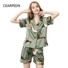 4f4660f8ae wholesale Women s Green 2PCS Shirt Shorts Print Animal Pajamas Set Satin Pyjamas  Suit Summer New Home Clothes Intimate Lingerie