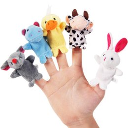 Wholesale toy puppets - 10 pcs lot Christmas Baby Plush Toy Finger Puppets Tell Story Props(10 animal group) Animal Doll Kids Toys Children Gift