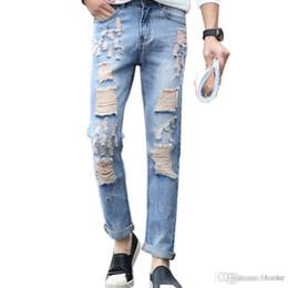 dd7c501bb5868 mens torn skinny jeans Promo Codes - Wholesale-2016 torn Men designer  Casual Hole destroyed