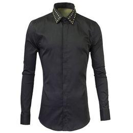 Wholesale Sticky Men - New Men's Shirts Fashion Design Metal sticky drill Black Dress Shirts Casual Cotton Chemise Homme Slim Fit Button Down Shirt Men