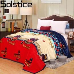Wholesale Flannel Sheets Full - Solstlce bedding High Quality Winter Blanket Coral Fleece Blankets Warm Flannel Sheets Blankets Single Fleece cotton Blanket