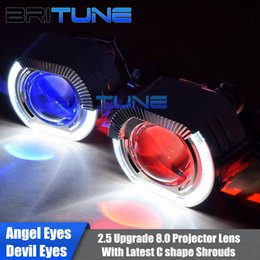 Aggiornamento della lampadina online-Upgrade 8.0 Lente per proiettore bi-xeno con kit occhi angelo diavolo a forma di C LED per H4 H7 Retrofit faro per auto con lampadine allo xeno H1