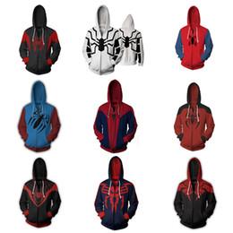 Magliette felpate da uomo di ragno online-Ultimate Spider-Man Costume Felpe di Peter Parker Cosplay 3D Digital Print Spiderman Felpa con cappuccio manica lunga con cerniera