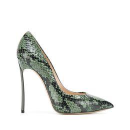 Сексуальная змеиная кожа стиль женщины насосы острым носом тонкие высокие каблуки ночной клуб платье обувь скольжения на Змея печатных шпильках насосы от