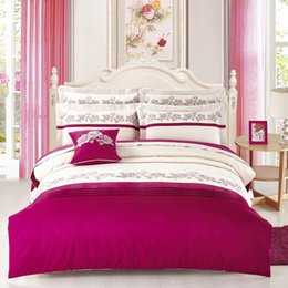 Wholesale Egyptian Cotton Bedding Sets Purple - 2017 100% Egyptian cotton bedding set queen King size for adults embroidery flower duvet cover set bed sheet
