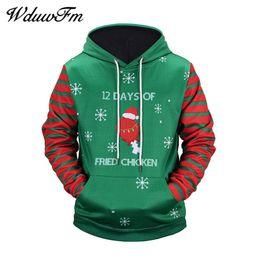 Wholesale Matching Sweatshirt - WduwFm Christmas Theme Blue Sleeve Stripe Print 3D Hoodies Long Sleeves Loose Pullovers Sweatshirt Hoody Matching Couple Hoodies