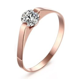 Wholesale brilliant solitaire - Wedding Ring Womens 316L Stainless Steel Cubic Zirconia Tension Set Rose Gold Plated Brilliant Wedding Engagement Ring US size 5-7