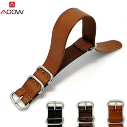 Кожаные наручные часы для женщин онлайн-AOOW ZULU Leather Watchband NATO Watch Band Strap 18mm 20mm 22mm for Men Women Watch Accessories Sliver Ring Buckle Replacement