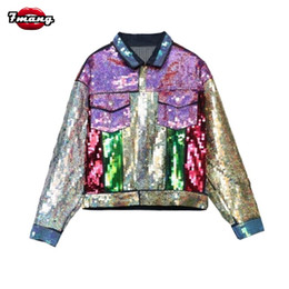 Wholesale Punk Coats - 2017 new autumn women street colorful sequins jeans jackets long sleeve party punk cartoon printing denim coat