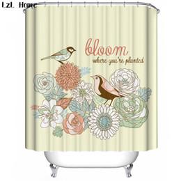 décorations de salle de bain pas cher Promotion LzL Home oiseaux motif rideaux de douche Pie lotus salle de bains rideaux pas cher de haute qualité moderne mode style bain décoration