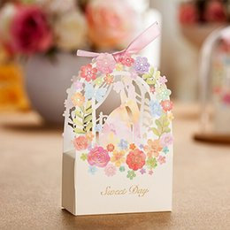Wholesale Paper Bags For Sweets - 50pcs Sweet Wedding Favors And Gifts Box Flower Laser Elegant Luxury Decoration Party Event Supplies Paper Candy Bag For Guests