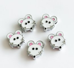 Wholesale charm dog collars - 10PCs 8MM Enamel Mouse Slide Charms Letters DIY Accessories Fit 8mm Wristband Pet Dog Name Collars Belts Phone Strips