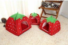 Wholesale dog kennel cushions - Portable Foldable Cat Dog Kennel Warm Cushion Strawberry Shape Sponge Pet House Dog Nest(Size XL)