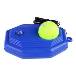 raqueta de plástico Rebajas 1pc Blue Plastic Racket Tennis Training Ball Single Tennis Practice Base Dispositivo de entrenamiento con ejercicio elástico