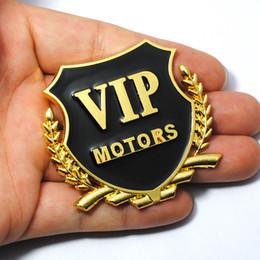 Wholesale Diy Metal Badges - 2pcs Lot 3D Logo VIP MOTORS Metal Car Chrome Emblem Badge Decal Door Window Body Auto Decor DIY Sticker Car Decoration Styling