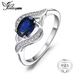 Safira azul oval on-line-Jewelrypalace oval 1.1ct criado blue sapphire declaração anel 925 sterling silver moda festa de casamento de luxo jóias para as mulheres s18101001
