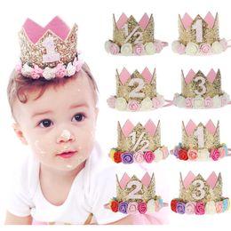 Wholesale Glitter Hats - 26 Styles Baby Girls Birthday Hat Newborn Flower Girls Headband Crown Girls Hair Accessory Glitter Baby Newborn Headwarp