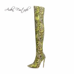 Wholesale stretch leopard boots - Arden Furtado new 2018 stretch cloth slip on over the knee pointed toe high heels 12cm stilettos fashion sexy Thigh-High Boots woman