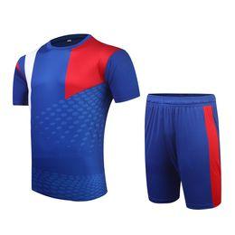 Camisola de jersey de futebol 15 16 on-line-15 16 temporada de alta qualidade da cor azul diy em branco homens conjuntos de futebol de shorts jersey masculino respirável outfit padrão de futebol kit uniformes la001