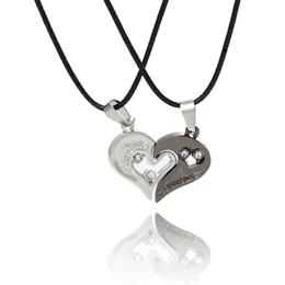 couples pendants UK - 2Pc Set Silver Lover Couple Pendant Necklaces Women Love Heart Choker Necklace Collier Femme Perle Bijoux Femme Jewelry