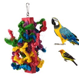 Wholesale pet cockatiel - Colorful Sisal Parrots Toys Bird Cotton Rope Chewing Climbing Toy for Parrots Cockatiel Birds Funny Toy Pet Products