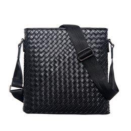 Vertikale messenger-umhängetasche online-Business Schultertasche Herren Klassische Leder Woven Bag Vertikale Schulter Messenger Business Aktentasche WISECOL