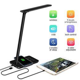 Bureau dc en Ligne-Lampes de table chargeur Qi sans fil Pad LED lampe de bureau pour Qi-Enabled Device Dimmable lampe de table de chevet se pliant 4 modes d'éclairage gradateur 5 niveaux