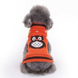 Suéteres de invierno búho online-Cartoon Owl fashion pet sweater Halloween Knit dog sweater Pet Dog Clothes para perros grandes y pequeños 4 colores cálido abrigo de invierno