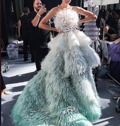 Canada Robe de soirée robe longue plume verte tulle sans bretelles à dos nu écharpes robe de bal belle classique moderne 0014 Offre