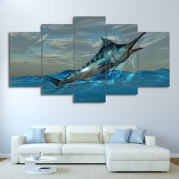 Wholesale fish poster - Canvas Frame Modular Print Pictures 5 Pieces Jumping Marlin Tuna Fish Painting Wall Art Sailfish Posters Living Room Decoration