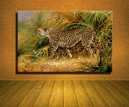 Wholesale Oil Painting Hunting - Original New Home Decor Art HD Print Animal Oil Painting Wall Decor Art on Canvas, XM216,The Cheetah,Leopard For Hunting 3size Unframed
