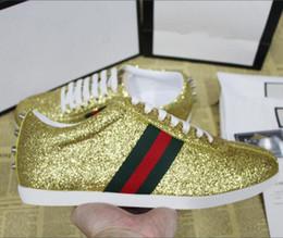Pailletten-gold-top online-Mode Männer Frauen Luxus Designer Sneaker Casual Ace Schuhe Top-Qualität mit Gold Pailletten Glitter Low Niet Streifen Turnschuhe Größe 35-46