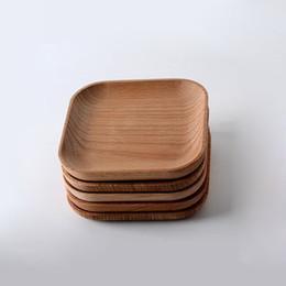 Argentina Platos cuadrados de madera Platos de pastel de madera de haya Plato de servir de postre Bandeja de sushi Vajilla Vajilla ZA6159 cheap square dishes dinnerware Suministro