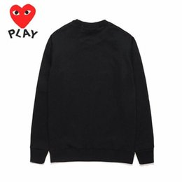 Wholesale heart sweater xl - 2018 AAA Quality HOLIDAY Heart Emoji PLAY Unisex CDG Play Embroidery Red Heart Sweater Round Collar Casual Hoodies Coat