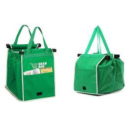 2019 зеленые сумочки для продажи Горячие продажи многоразовые большая тележка клип в корзину продуктовые сумки портативный зеленая ткань сумка Складная сумка сумки скидка зеленые сумочки для продажи