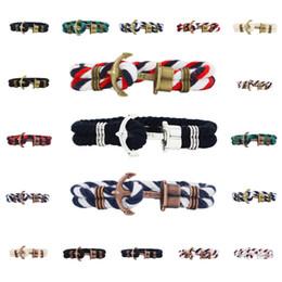 Wholesale marines charms - Wholesale Womens Mens Anchor Heart Love Bracelet Nautical Marine Braid Wrap Weave Nylon Rope Chain Bracelet Free DHL G290S
