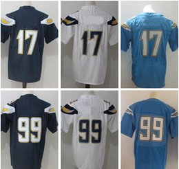 Wholesale Free Games Ships - Wholesale 17 Philip Rivers Jersey 99 Joey Bosa Embroidery Navy Blue White Light Blue Elite Game Stitched Jerseys College Free Shipping
