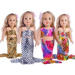 acabamento atacado Desconto Brilhante Sereia Roupas de 18 Polegada Menina Americana Baby Dolls Swimsuit Crianças Meninas Favor de Presente de Aniversário Vestido Acessórios