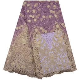 Argentina 2018 última moda Nigerian cordones telas alta calidad cordones africanos tela boda africana francés tul encaje con perlas 1286 Suministro