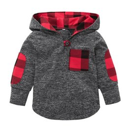 Wholesale High Fashion Baby Boy Clothes - High quality Toddler Kid Baby Boys Girls Plaid Hoodie Pocket Long Sleeve Sweatshirt Pullover Tops Fashion Warm Clothes Gray
