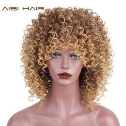 mistura de cor de cabelo castanho preto Desconto AISI CABELO Mistura de Fibra De Alta Temperatura Marrom e Loiro Cor Sintética Cabelo Curto Afro Kinky Curly Perucas para As Mulheres Negras