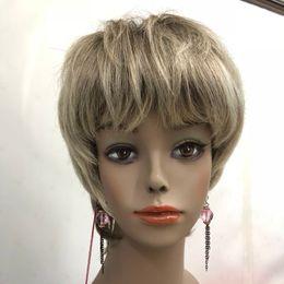 cheveux gris, racines brunes Promotion 2018 Hot santé Super mignon gris / gris mélange brun racine courte droite cheveux humains pleine perruque de femmes