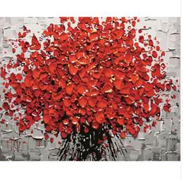 numero di pittura fiore Sconti Pittura senza cornice rossa di Diy Digital Flower By Numbers Pittura astratta moderna della parete di arte della parete per la decorazione domestica