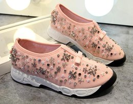 bead flower mesh Australia - Top Quality Womens Sports Shoes Sequins Beads Flowers Comfort Sneakers Walking Travel Shoes 23 Colors Free Shipping 34-42 A11